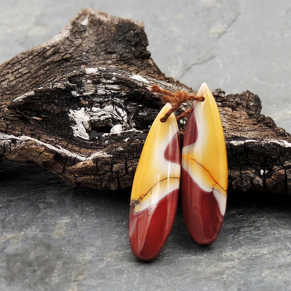 Drilled Australian Mookaite Jasper Earring Pair Matched Teardrop Gemstone Earrings Bead Pair Burgundy Maroon Red Yellow Sunset Colors