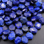 "Faceted Natural Blue Lapis Rectangle Octagon Beads With Golden Pyrite Matrix Large Slice Slab Cushion Focal Beads 16"" Strand"