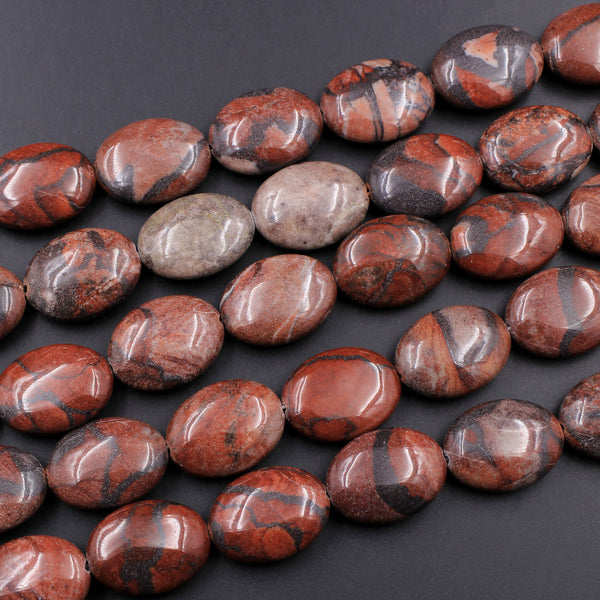 "Large Natural Red Poppy Jasper Puffy Oval Beads 25mm 16"" Strand"