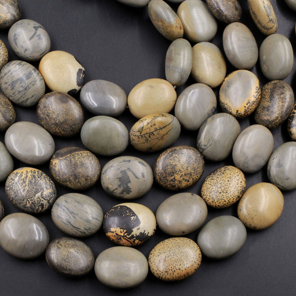 "Natural Artistic Jasper Large Puffy Oval Beads Beads Earthy Yellow Brown Slate Gray Jasper 16"" Strand"