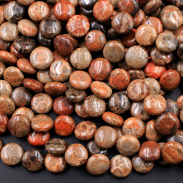 "A Grade Natural Indonesian Fossil Coral Coin Beads 10mm Red Brown Tan Beige Beads 16"" Strand"