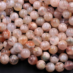 "Natural Cherry Blossom Agate Beads 6mm 8mm 10mm Round Beads Translucent Pink Peach Creamy High Polish Beads 16"" Strand"