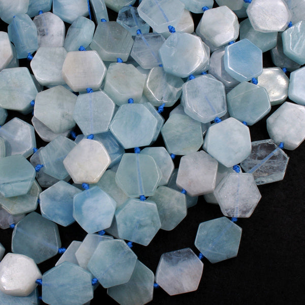 "Natural Aquamarine Hexagon Beads Thin Flat Slab Cushion Nugget Slice Pendant Focal Beads 16"" Strand"
