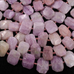 "Large Faceted Natural Kunzite Rectangle Cushion Beads Nuggets Natural Pink Violet Purple Gemstone 16"" Strand"