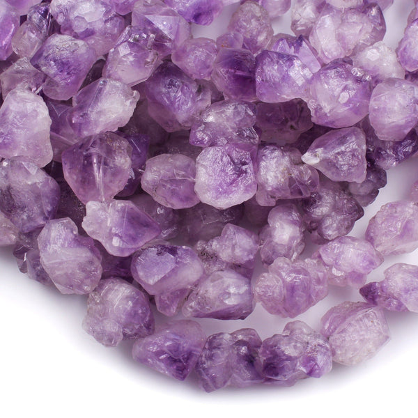"Raw Natural Amethyst Beads Vertically Drilled Freeform Rough Organic Nugget Stunning Purple Amethyst Gemstone 16"" Strand"
