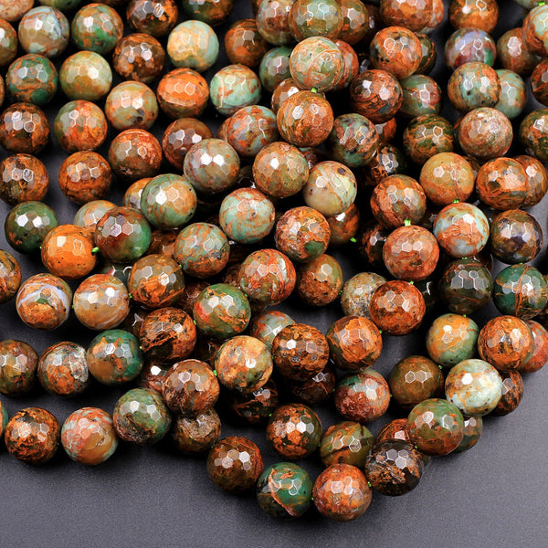 "Natural African Green Opal Faceted Round Beads 10mm Large Faceted Round Beads High Quality Green Brown Gemstone Opal Beads 16"" Strand"
