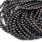 "Natural Astrophyllite 6mm Round Beads 16"" Strand"