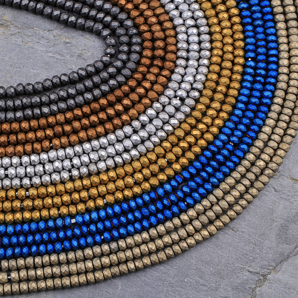 "Matte 3mm Faceted Hematite Rondelle Beads 3x2mmTitanium Silver Gold Blue Bronze Champagne Gunmetal Black Colors 16"" Strand"