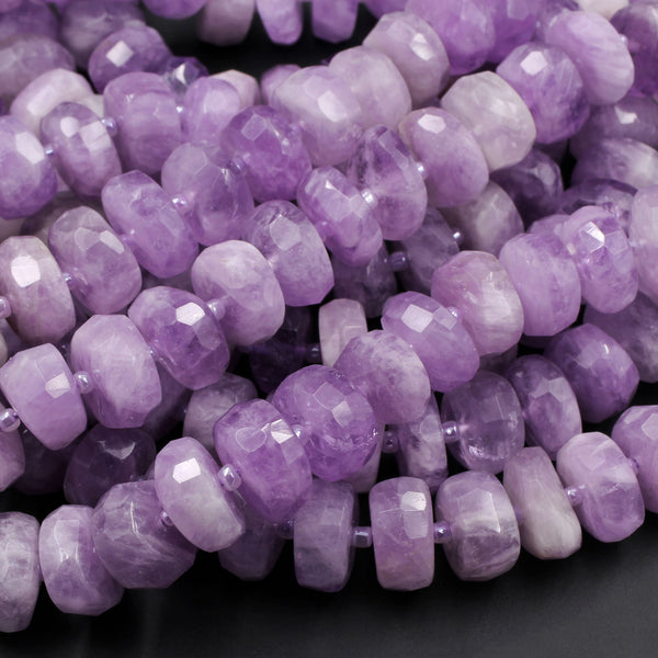 "AAA Grade Large Natural Amethyst Faceted Rondelle Wheel Beads Vibrant Violet Purple Amethyst Gemstone Beads 16"" Strand"