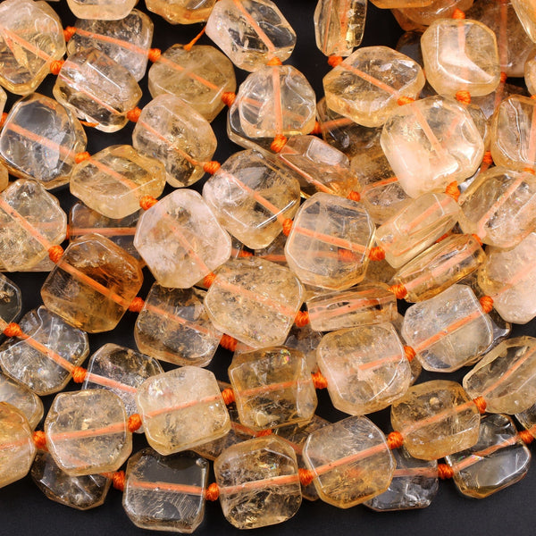 "Natural Golden Citrine Square Octagon Beads Geometric Cut Large Citrine Gemstone Super Gemmy 16"" Strand"