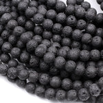 "Natural Lava Round Beads 4mm 6mm 8mm 10mm 12mm Grade A Black Lava Rock Stone High Quality Black Mala Beads Essential Oil Beads 16"" Strand"