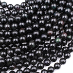 "Natural Rainbow Black Obsidian 4mm 6mm 8mm 10mm Round Beads 16"" Strand"