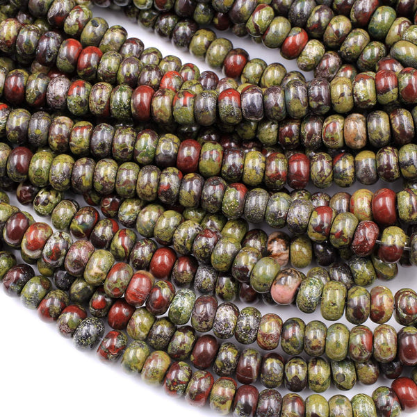 "Natural Dragon Blood Jasper Rondelle 8x5mm Beads Polished Earthy Red Green Stone 16"" Strand"