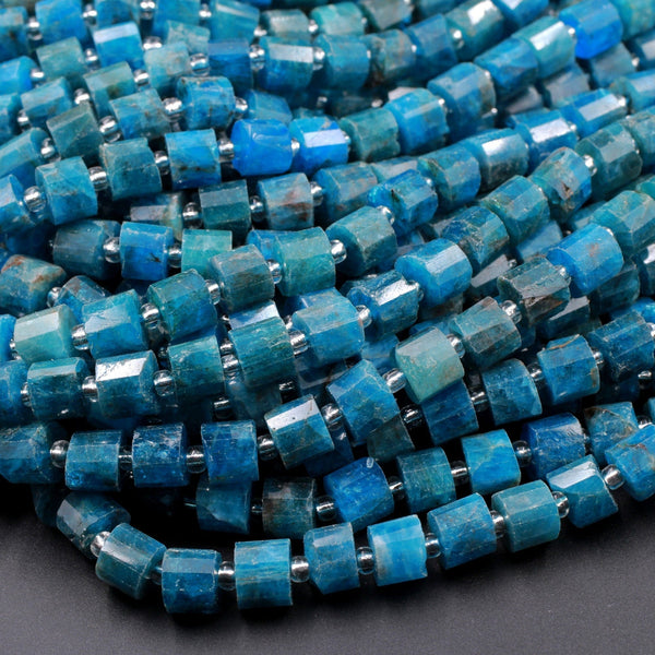 "Natural Blue Apatite Faceted Tube Cylinder Rondelle Beads 6mm 7mm Beads Natural Teal Blue Gemstone Full 16"" Strand"