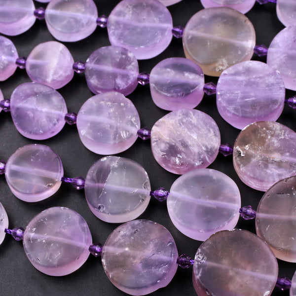 "Matte Raw Natural Ametrine Beads Graduated Coin Shape Gemmy Translucent Purple Amethyst Gold Citrine Gemstone Beads 16"" Strand"