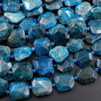 "Natural Blue Apatite Faceted Square Cushion Nugget Beads Large Teal Blue Gemstone Designer Beads Unique Gem Cut 16"" Strand"