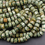 "Natural Rainforest Rhyolite Jasper Faceted Rondelle Disc Geometric Beads 12mm High Quality 16"" Strand"
