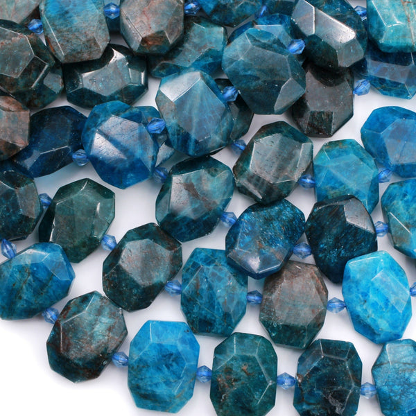 "Natural Blue Apatite Faceted Rectangle Cushion Octagon Nugget Beads Teal Blue Gemstone Unique Cut 16"" Strand"