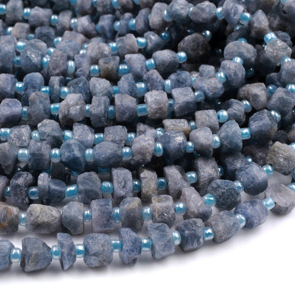 "Rough Raw Natural Blue Sapphire Nugget Beads Freeform Hand Hammered Real Genuine Blue Sapphire Gemstone Earthy Organic Cut 16"" Strand"