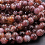 "Rare Genuine Natural Auralite 23 Cacoxenite Gemstone 6mm 8mm 10mm 12mm 14mm Round Beads Powerful Healing Gemstone Oldest Crystal 16"" Strand"