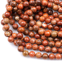 "Natural Indonesian Fossil Coral Faceted Round Beads 8mm 10mm 14mm Vibrant Orange Red Coral 16"" Strand"