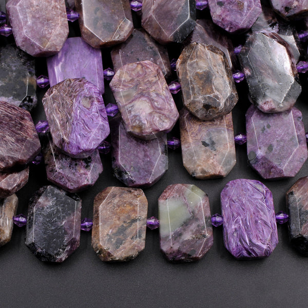 "Large Charorite Hexagon Beads Chunky Rectangle Octagon Nugget Natural Purple Russian Charoite Gemstone Flat Slice Beads 16"" Strand"