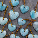 Small Natural Blue Larimar Heart Pendant Drilled Genuine Real Blue Larimar Gemstone Bead
