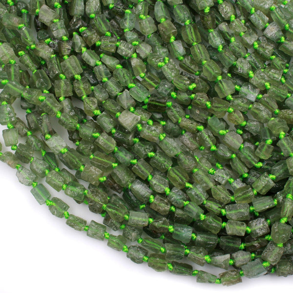 "Natural Green Garnet Tube Rectangle Beads Matte Raw Green Garnet Gemstone Organic Hand Hammered Nugget 16"" Strand"