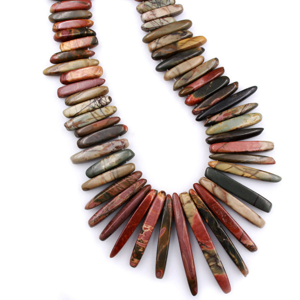 "Graduated Natural Red Creek Jasper Spike Stick Beads Earthy Red Green Yellow Brown Multicolor Picasso Jasper 16"" Necklace Strand"
