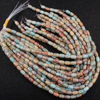 "Genuine Natural Snake Skin Jasper Beads Drum Barrel 12x8mm Earthy Blue Rusty Red Brown Tan Stone Aka African Blue Opal 16"" Strand"