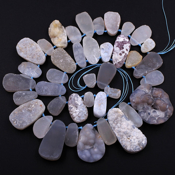 "Rare Natural Blue Chalcedony Druzy Drusy Beads Hand Cut Oval Teardrop Vertically Drilled Sparkling Crystal Beads 16"" Full Strand"