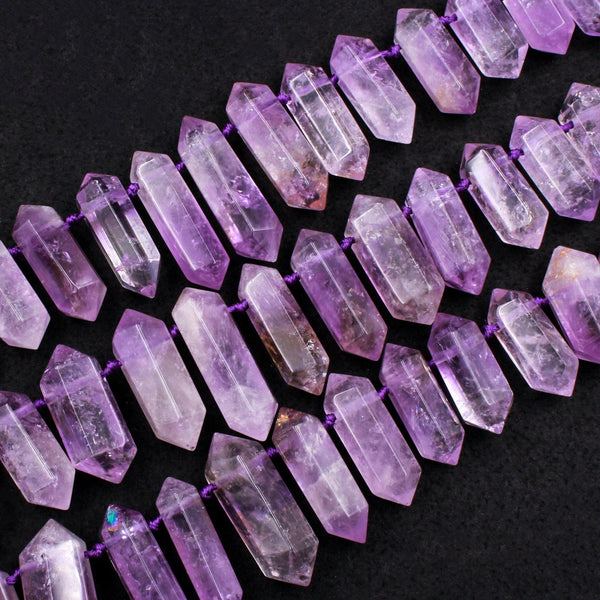 "Natural Purple Amethyst Faceted Double Terminated Pointed Beads Top Drilled Large Healing Crystal Focal Pendant 16"" Strand"