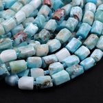 "Natural Larimar Tube Beads Rectangle Blue Larimar Nuggets Highly Polished Top Quality  Real Genuine Larimar 16"" Strand"