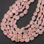 "Rough Raw Natural Morganite Beads Freeform Oval Petals Nuggets Pink Aquamarine Hand Hammered Organic Cut Beads 16"" Strand"
