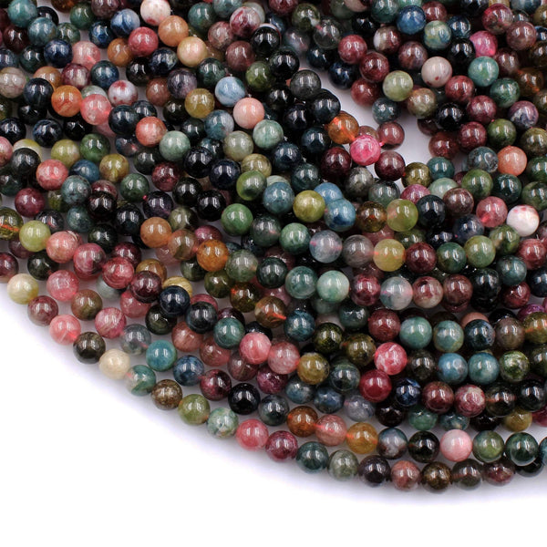 "Natural Multicolor Watermelon Pink Green Tourmaline Round Beads 4mm 6mm 8mm 10mm Colorful Real Genuine Tourmaline Gemstone 16"" Strand"