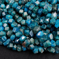 "Chunky Natural Apatite Beads Faceted Rectangle Nugget Teal Blue Green Gemstone Designer Beads Unique Gem Cut 16"" Strand"