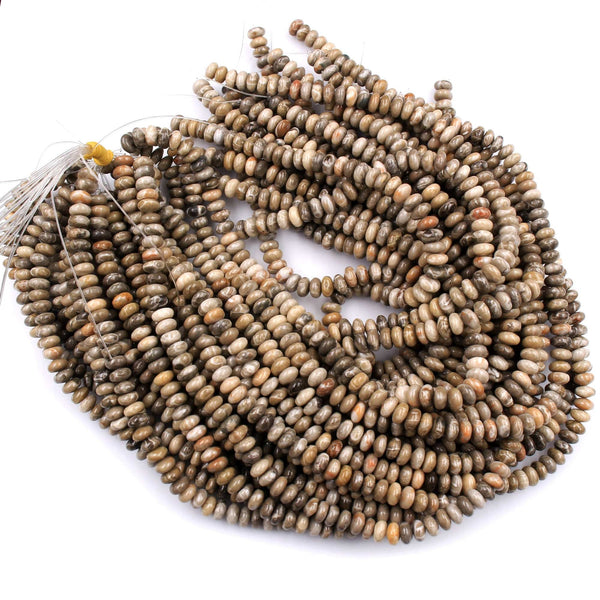"Natural Fossil Coral Rondelle 8mm Beads Earthy Brown Tan Beige Gray Beads 16"" Strand"