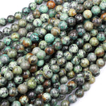 "Large Hole Beads Natural African Turquoise 8mm 10mm Round Beads Big 2.5mm Hole 8"" Strand"