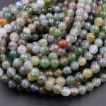 "Natural Green Flower Moss Agate 6mm 8mm Round Beads High Polish Spheres 16"" Strand"