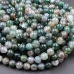 "Natural Green Moss Agate 8mm Round Beads Green Gemstone High Polish Spheres 16"" Strand"