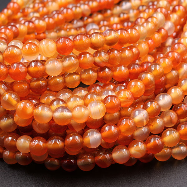 "AAA Natural Carnelian 4mm 6mm 8mm 10mm Round Beads Highly Polished Finish Natural Red Orange Gemstone 16"" Strand"