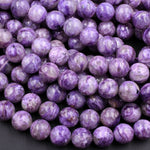 "Natural Russian Charoite 6mm 8mm 10mm 12mm 14mm Round Beads Rich Purple Charoite High Quality Gemstone Beads 16"" Strand"