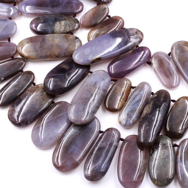 "Large Natural Amethyst Sage Chalcedony Long Oval Focal Pendant Beads Stunning Deep Violet Purple Gemstone From Oregon 16"" Strand"