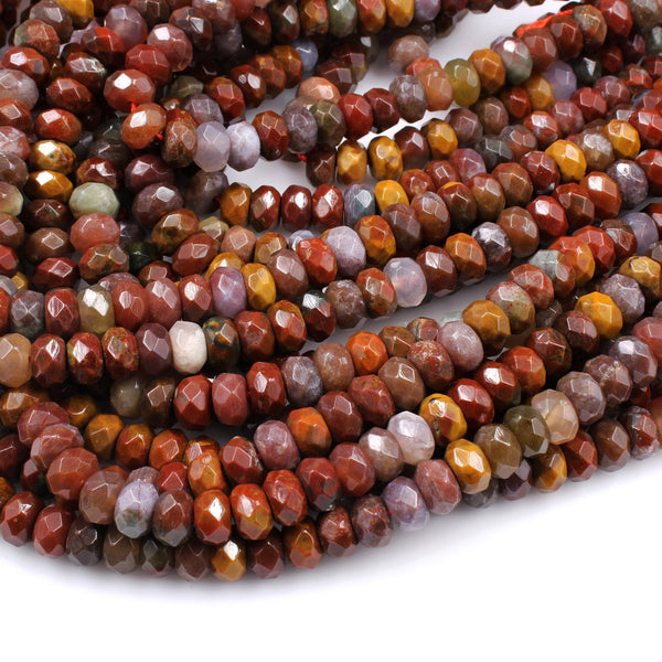 "Faceted Natural Red Flame Agate  6mm 8mm Rondelle Beads 16"" Strand"