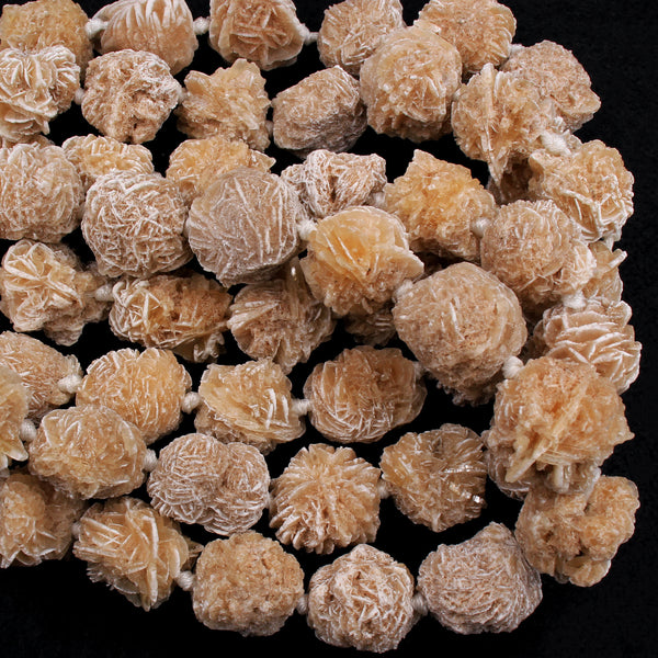 "Large Drilled Natural Selenite Desert Rose Round Beads Freeform Raw Organic Real Genuine Natural Desert Rose Selenite Gemstone 16"" Strand"