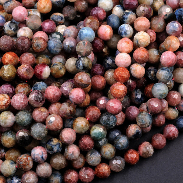 "Faceted Tourmaline Round Beads 6mm 8mm Natural Earthy Pink Blue Green Yellow Real Genuine Tourmaline Gemstone Beads 16"" Strand"