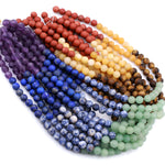 "Matte Natural Chakra Gemstone 4mm 6mm 8mm Round Beads Amethyst Lapis Sodalite Aventurine Tigers Eye Yellow Jade Red Jasper 16"" Strand"