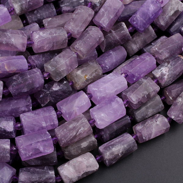 "Matte Finish Natural Amethyst Tube Beads Organic Rough Raw Purple Amethyst Gemstone High Quality 16"" Strand"