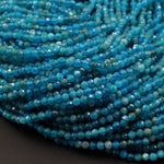 "Natural Blue Apatite 2mm 3mm Faceted Round Beads Small Micro Faceted Laser Diamond Cut Gemstone 16"" Strand"