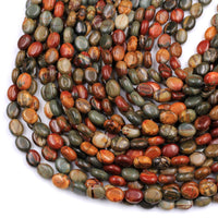 "Red Creek Jasper Oval Beads 10x8mm SmoothEarthy Red Green Yellow Brown Natural Cherry Creek Multi-color Picasso Jasper Earring 16"" Strand"
